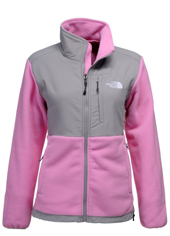 Pink fleece north face jacket